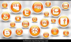 Webtreats 108 Free Glossy Orange Orb Social Me...