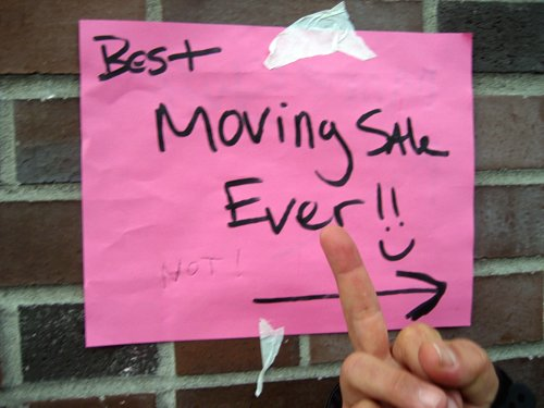 Moving sale sign: After