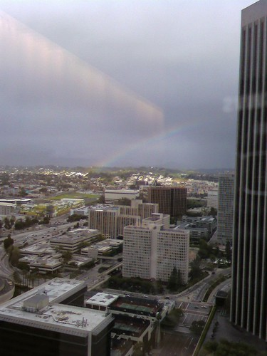 Rainbow over downtown la