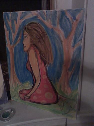 brunette tree painting