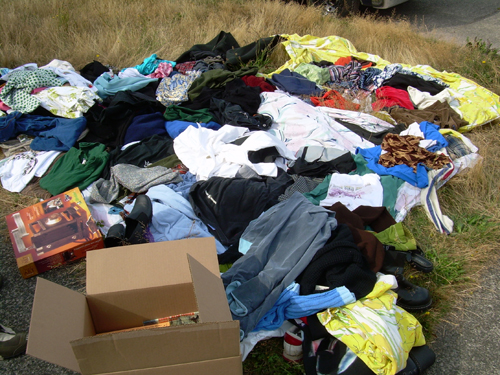 Pile of clothes at sale