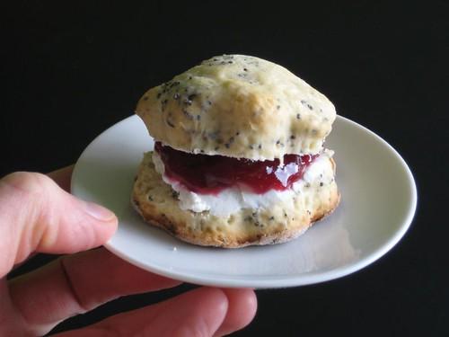 Poppy Seed Scone with Rasberry Jelly & Buttermilk Curd