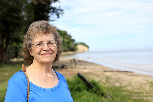 Gail at the same beach she visited 60 years ago.