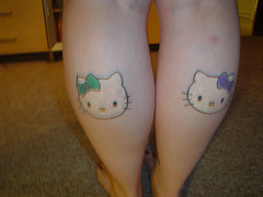 blurry pic of my hello kitty tattoos