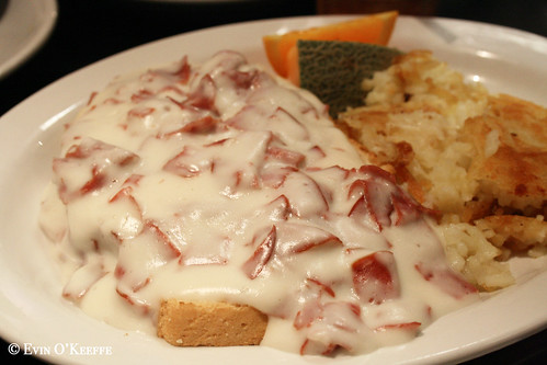 Creamed Chipped Beef on Toast with Hash Browns