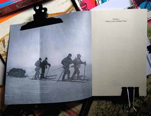 Robert F. Scott, Ernest Shackleton, Edward A. Wilson, Diari Antatrtici, art director Ada Carpi, Nutrimenti 2010; risvolto di cop. e p. dell'occhietto. (part.), 1