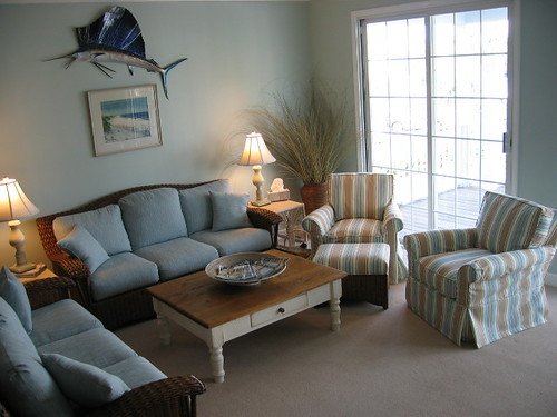Condo Package Living Room; Slipcovered Chairs and Traditional Wicker