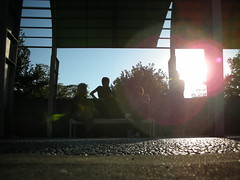 Sunset behind us