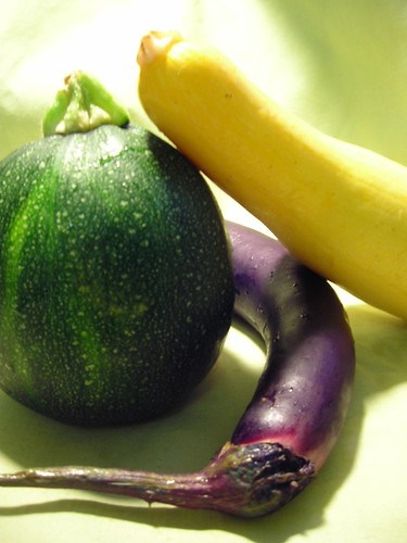 Asian Eggplant, 8 Ball Zucchini and Sepher Summer Squash