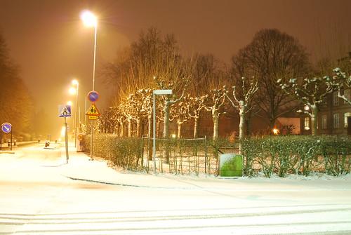 Snowy empty streets
