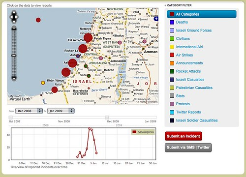 War on Gaza - Cartographie d'Incident bande de GAZA by you.
