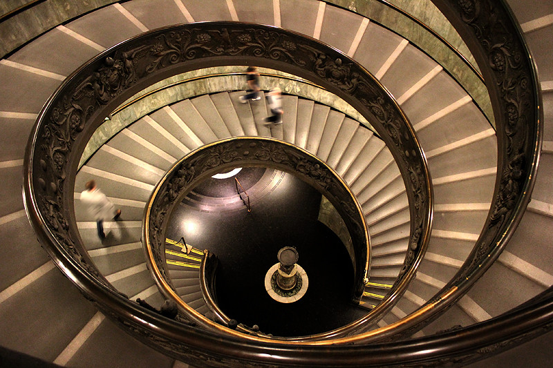 The very grand spiral staircase at the Vatican Museum
