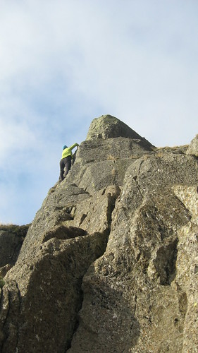 Lucie looking for a direct route up the pinnacle