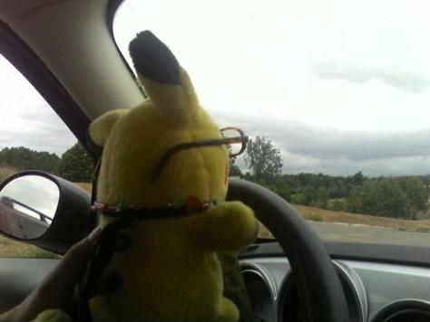 Pikachu driving