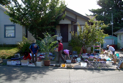 Our yard sale: view from the street