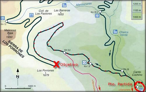 Mapa de la ruta que seguimos en la Pedriza