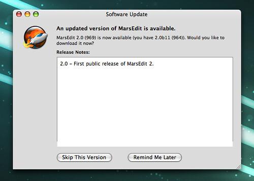 MarsEdit Software Update