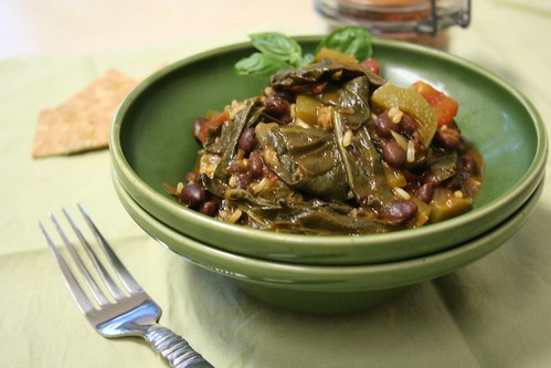 Cajun-style rice and beans with collards