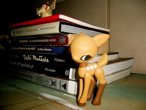 Books and Deer on Dresser