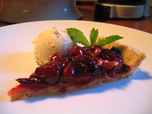 roman cherry tart + almond ice cream