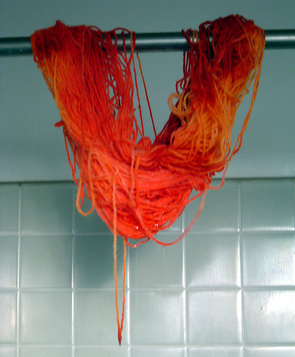 Hand dyed yarn drying