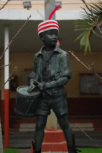 The Little Drummer Boy, a memorial statue in commemoration of Bedan boy scouts who died in a plane crash enroute the World Jamboree in the 1960's greet the Bedan faithful with an Umpa Umpa!