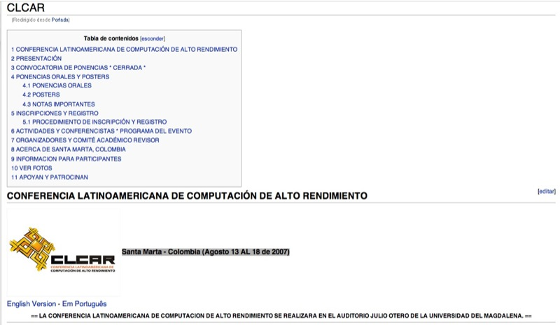 CLCAR 2007 Sitio Web