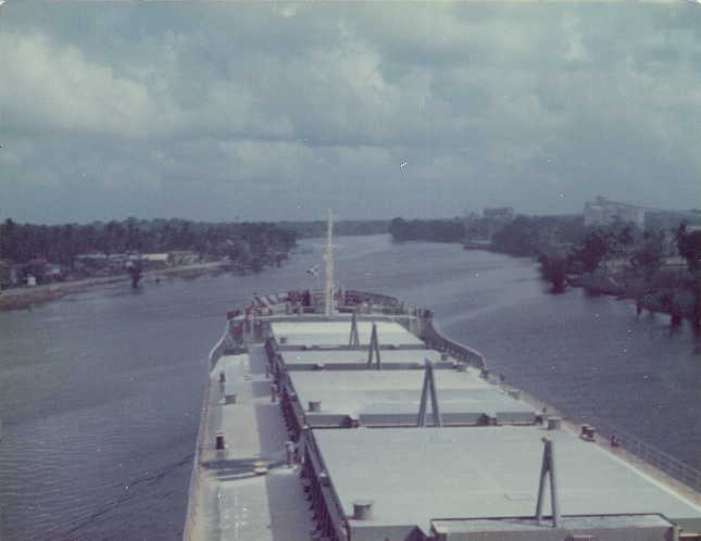 Bauxite Ship leaving MacKenzie, Guyana