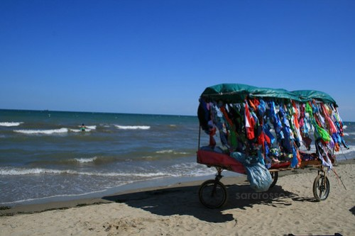 Colorful beach sellers in Puglia