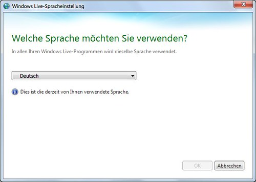 Windows Live Language Selector