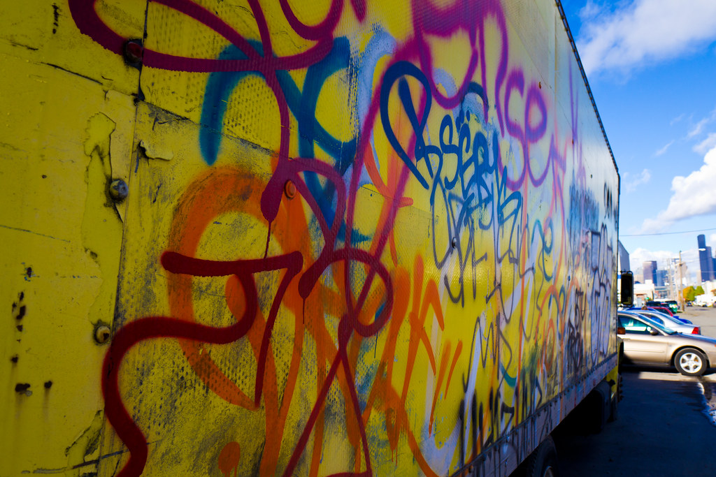 Graffitied truck on Occidental Ave