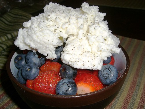 Strawberries, Blueberries, Goat Ricotta