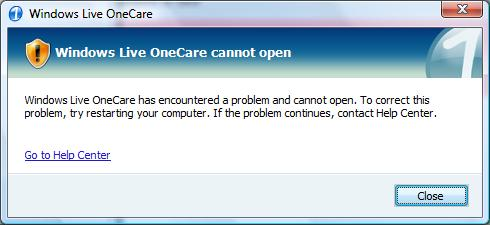 OneCare Startup Error