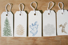 Holiday Gocco Gift tags - Nature - set of 5
