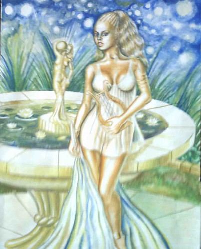 Like Sappho, Korinna from Tanagra was one of the greatest poets in the ancient Greece.We dont know when she was born but she lived around 500 b.c.Her works treated subjects related to greek mythology and the link betweent myths and real life.This is my painting of Korinna