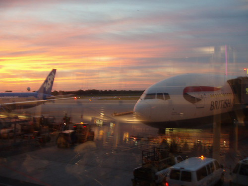 Last sunset - and plane - of the trip (Montreal)