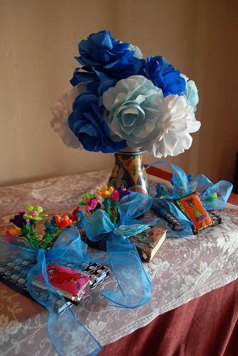 The books I made for my maids to carry and the crepe paper roses I made for the chapel