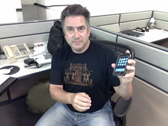"""Sam Levin showing off his leather """"inCase"""" case"""
