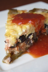 Green Chile-Black Bean Pie with salsa