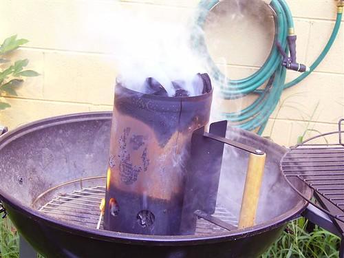 Chimney starter getting warm