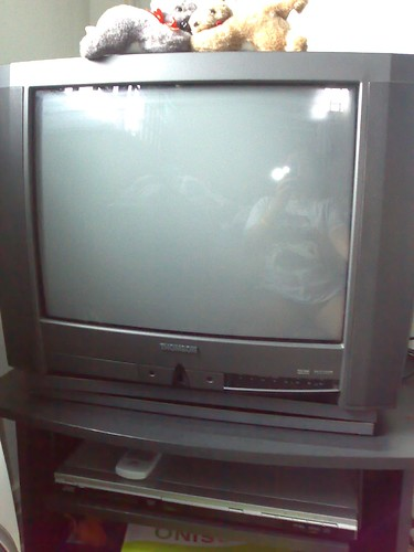 Our ancient Toshiba TV with the DVD player just below it