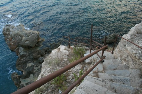 Rickety staircase down to hidden Pugliese beach