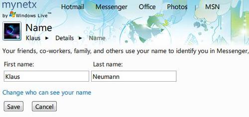 Edit your Windows Live Profile name