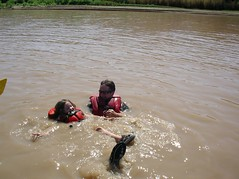 eric and ellie in river