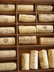wine corks in old drug store drawer