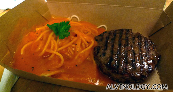 My spaghetti with beef patty in bolognese sauce