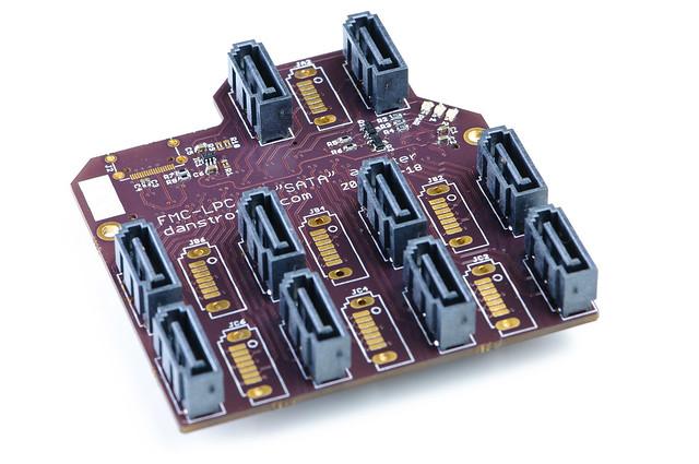 FMC-LPC to SATA adapter board - assembled top