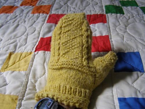 Gansey Mitten, on my hand