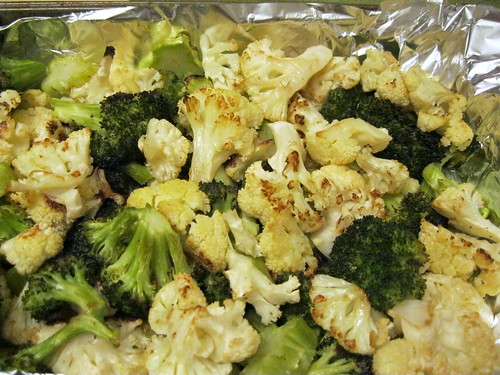 Pan of Roasted Cauliflower and Broccoli Florets
