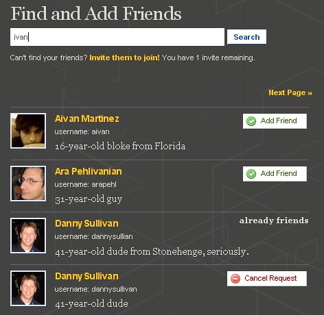 Pownce: Friend Search - Effective?